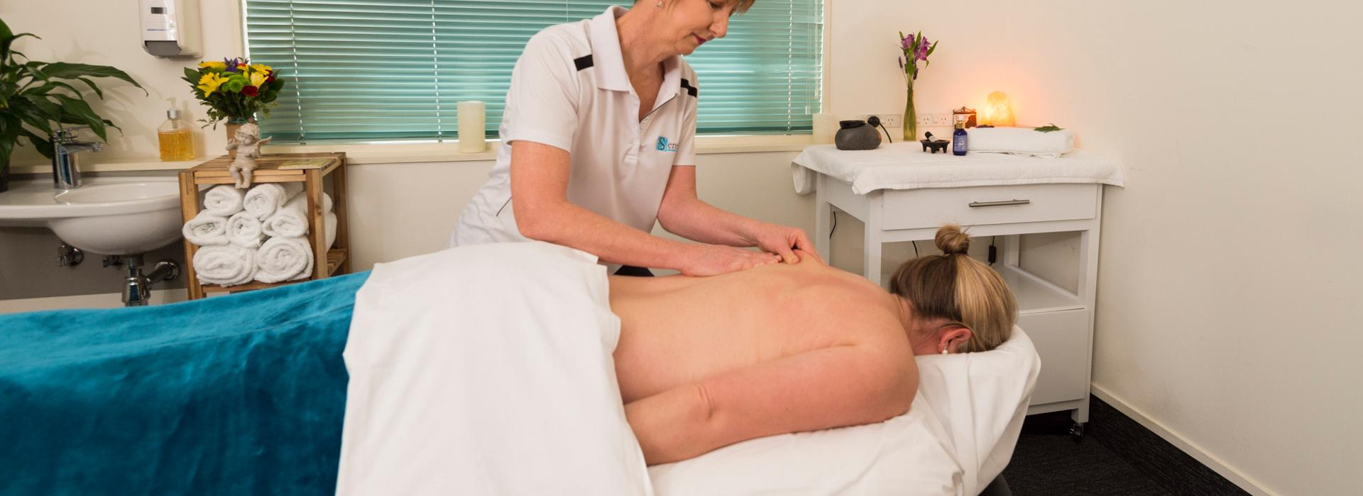 Sue massaging Taradale clinic